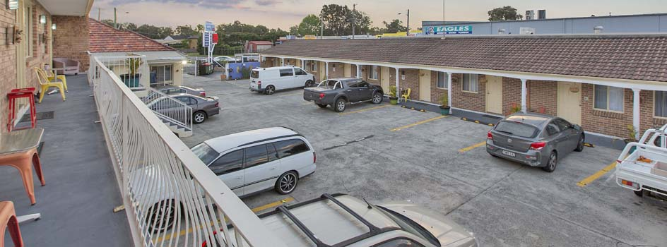 Dedicated parking for each room is available at Buccaneer Motel Long Jetty NSW.